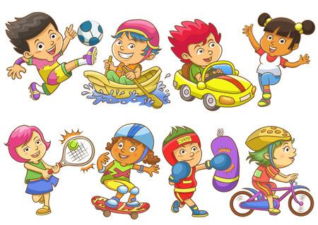 illustratie van spelende kinderen verschillende sporten. EPS-10 eenvoudige Verlopen Stock Illustratie