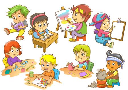 verb: conjunto de actividades infantiles rutinas Vectores