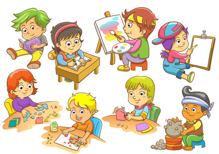 kids activities: set of child activities routines