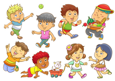 daily routine: set of child activities routines.EPS10 File  simple Gradients, no Effects, no mesh, no Transparencies.All in separate group for easy editing. Illustration