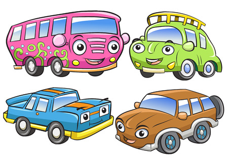 Funny vehicles. Cartoon and vector isolated characters. EPS10 File simple Gradients