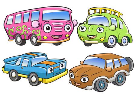 carro caricatura: Vehículos divertidos. Dibujos animados y personajes de vectores aislados. Archivo EPS10 Degradados simples Vectores
