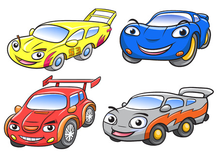 Vector illustration of cute cartoon car characters.EPS10 File simple Gradients Ilustração