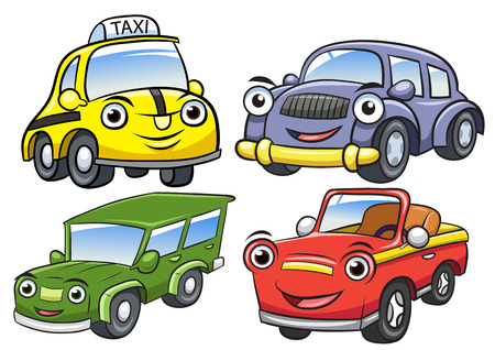 carro caricatura: Ilustración vectorial de dibujos animados lindo coche characters.EPS10 archivos Degradados simples Vectores