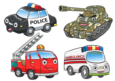 police fire ambulance tank cartoon.EPS10 File  simple Gradients, Illustration