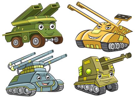 タンク漫画のグループ。EPS10 ファイルの単純なグラデーション、