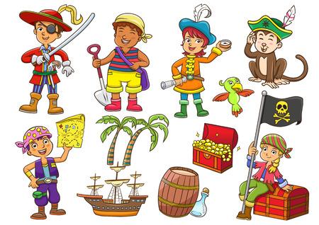 海賊子漫画のイラスト。EPS10 ファイルの簡単なグラデーション