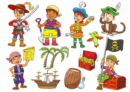 cofre del tesoro: Ilustración del pirata niño cartoon.EPS10 archivo Degradados simples Vectores