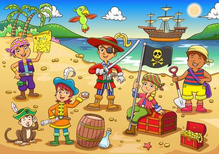 Ilustración del pirata niño cartoon.EPS10 archivo Degradados simples, Transparencias Vectores