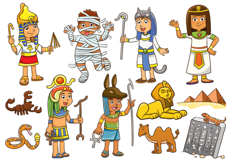 ancient egyptian culture: Illustration of egypt child cartoon character.EPS10 File  simple Gradients