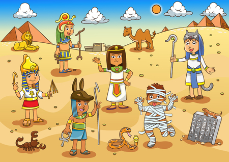 human pyramid: Illustration of egypt child cartoon. EPS10 File simple Gradients