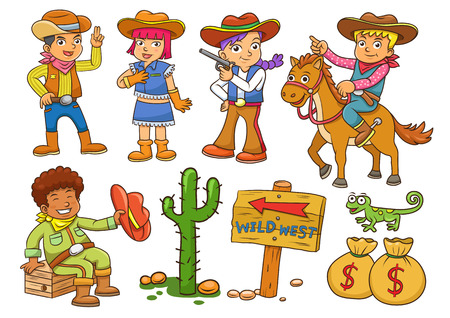 cowgirl and cowboy: Illustration of cowboy Wild West child cartoon.EPS10 File simple Gradients