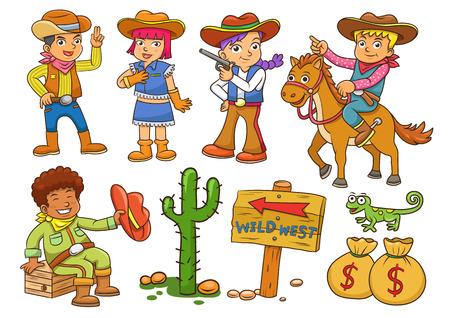trajes mexicanos: Ilustración de vaquero del oeste salvaje niño cartoon.EPS10 archivo Degradados simples Vectores