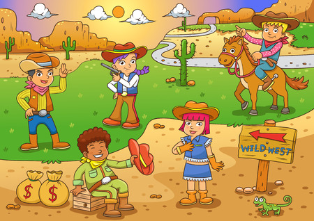 cowgirl and cowboy: Illustration of cowboy Wild West child cartoon. EPS10 File simple Gradients