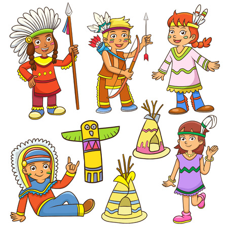 red indian: illustration of red indian cartoon.