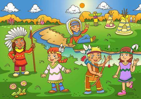 赤インド漫画のイラスト。EPS10 ファイルの簡単なテクニック
