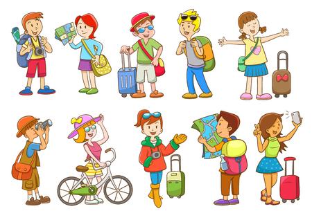 activity cartoon: set of  travel cartoon character EPS10  File simple technique