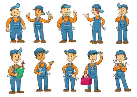 メカニックの漫画のキャラクター。EPS10 ファイルの簡単な技術。 写真素材