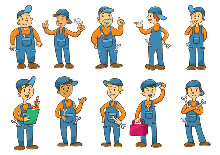 mechanic car: mechanic cartoon charactor. EPS10  File simple technique. Stock Photo