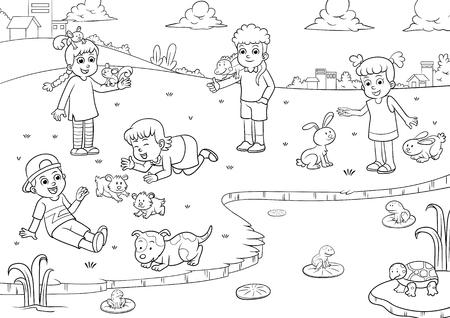 着色子供とペットの漫画