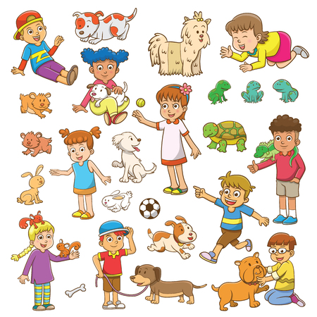 child and pet cartoon.  イラスト・ベクター素材