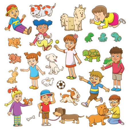 niños jugando en el parque: infantil y la historieta del animal doméstico.