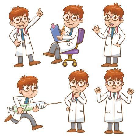 医者漫画のキャラクター設定ファイルの簡単なグラデーション  イラスト・ベクター素材