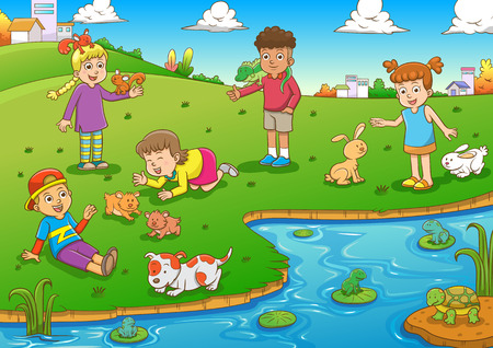 young girls nature: child and pet cartoon. Illustration