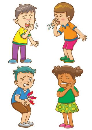 healthy kid: Children get sick cartoon character.