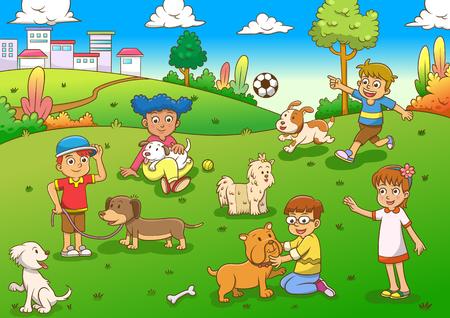 子どもやペットの漫画  イラスト・ベクター素材