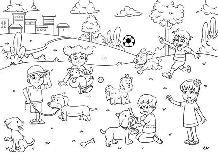 着色のための子と犬の漫画