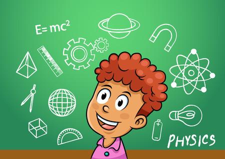 学校の男の子は学校黒板ファイル簡単なグラデーションで物理記号オブジェクト アイコンを書く  イラスト・ベクター素材