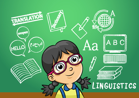 language dictionary: school girl write linguistics sign object in school blackboard. simple Gradients Illustration
