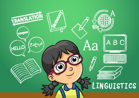 linguistics: school girl write linguistics sign object in school blackboard. simple Gradients Illustration