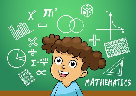 女子校生は、学校の黒板に数学記号オブジェクトを記述します。簡単なグラデーション