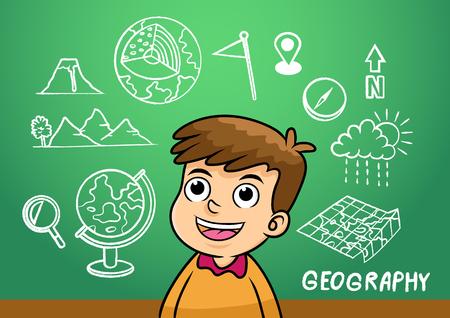 human geography: school boy write geography sign object in school blackboard. simple Gradients