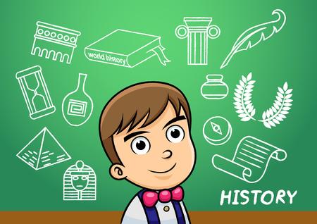 学校の男の子は、学校の黒板の歴史記号オブジェクトを書き込みます。EPS10 ファイルの簡単なグラデーション