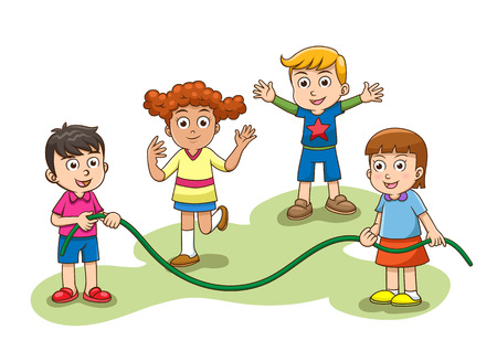 saltar: Saltarse el juego del salto. Un grupo de niños que juegan salto saltar. Los gradientes simples