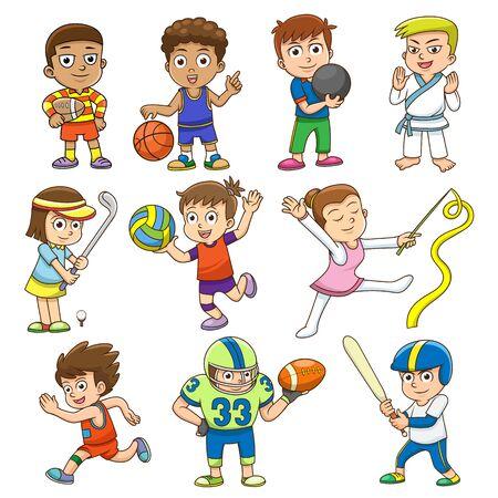 様々 なスポーツを遊んでいる子供たちのイラストです。 簡単なグラデーション  イラスト・ベクター素材
