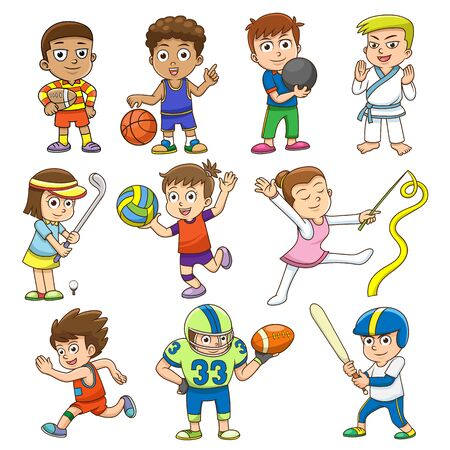 after school: illustration of children playing different sports.  simple Gradients