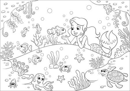 かわいい漫画人魚塗り絵の水中世界ファイルで。