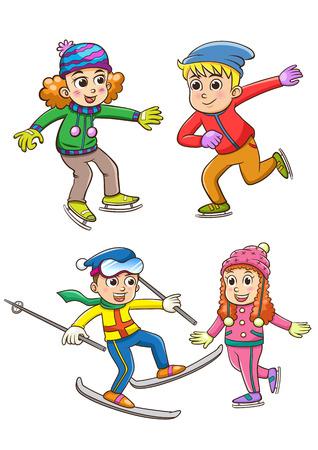 冬に遊んでいる子供たちのセットです。少年少女スキー、アイス スケートします。漫画のスタイルのベクトル図