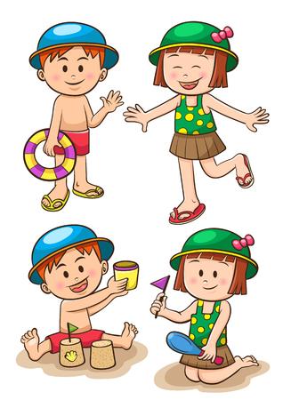 子供海の休暇。女の子と男の子のビーチで遊んでいます。EPS10 ファイルの簡単なグラデーション、効果なし、ないメッシュなしの透明度。簡単に編