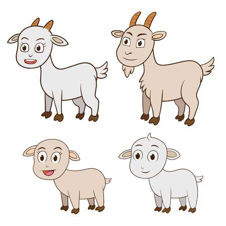 ヤギの家族と子供、ホワイト バック グラウンド EPS10 ファイルの単純な手法のベクトル図  イラスト・ベクター素材