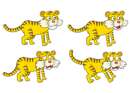 Vector illustration of Cartoon Tiger Character Set EPS10  File simple technique