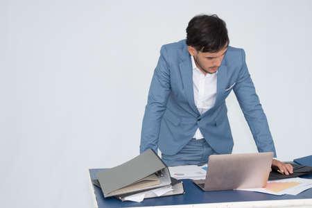 Businessman feeling failed, sad, distraught, frustrated Stock Photo