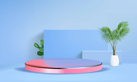 Background vector 3d blue rendering with podium and minimal blue wall scene, minimal abstract background 3d rendering abstract geometric shape blue pastel color. Stage for awards on website in modern. Vetores