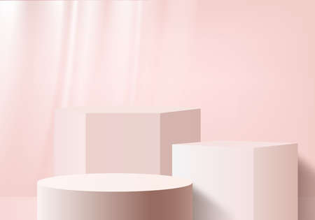 Cylinder abstract minimal scene with geometric platform. Summer background vector 3d rendering with podium. stand to show cosmetic products. Stage Showcase on pedestal modern 3d studio pink pastel