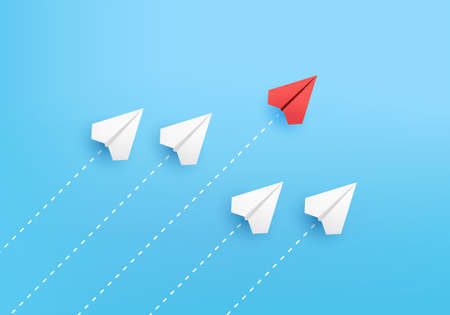 Business creative idea minimal concept on 3D render vector, group of paper plane in one direction, one individual pointing in the different way. Business for new ideas creativity & innovative solution Ilustração