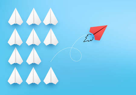 Business creative idea minimal concept on 3D render vector, group of paper plane in one direction, one individual pointing in the different way. Business for new ideas creativity & innovative solution